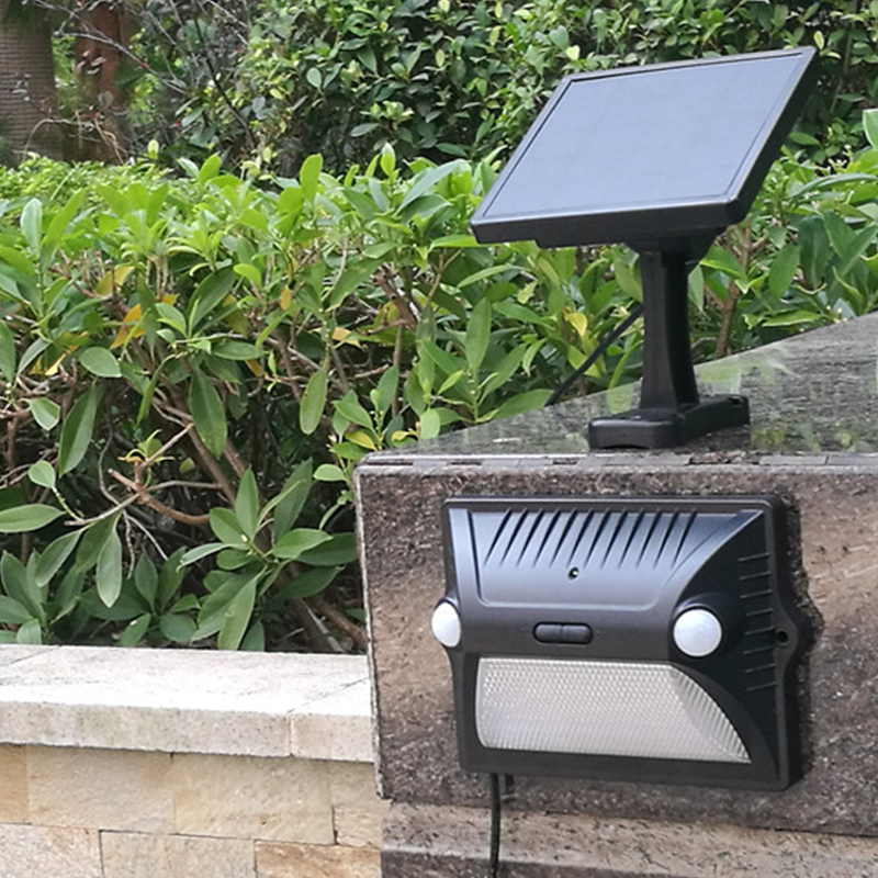 Intelamp Amazon hot sale dual-headed motion sensor outdoor solar sensor wall light with multi color