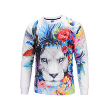 Wholesale Organic Animal Lion Printing 3D Hoodies Leisure Sweatshirts