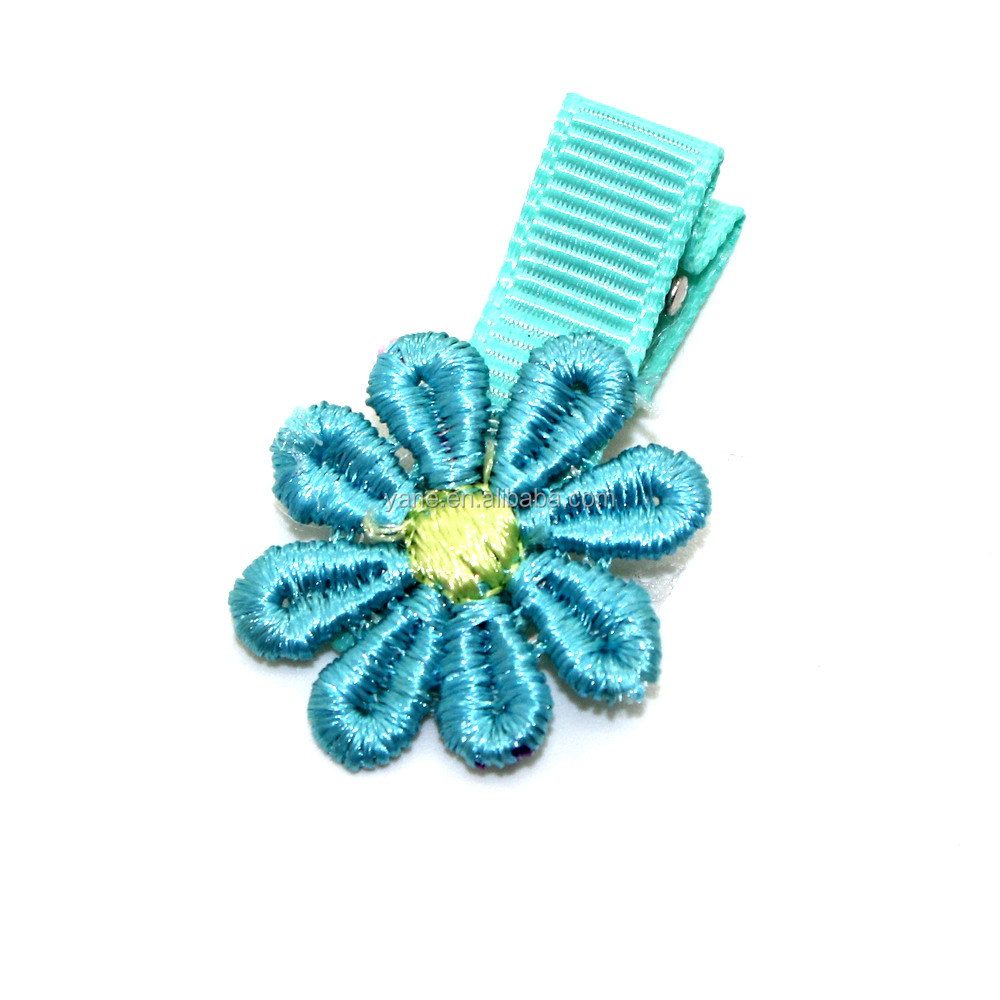 classical alligator hair clips with flower hair accessories for girls