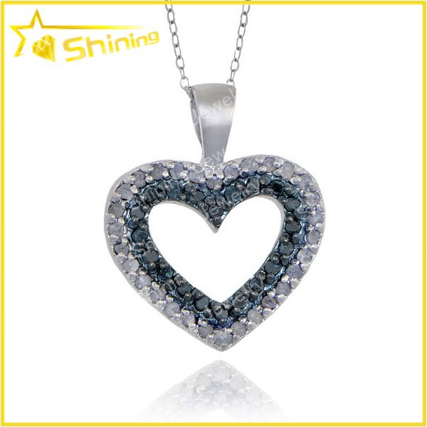 sterling silver blue and white heart engraving silver pendant