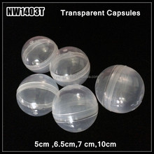 Produce 2 Inch dia plastic round Empty Vending clear transparent Capsules 50 Count