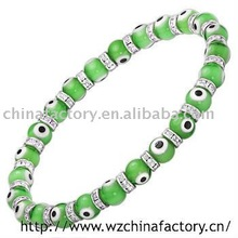 2011 fashion jewelry stretch evil eye samoan glass bead bracelet