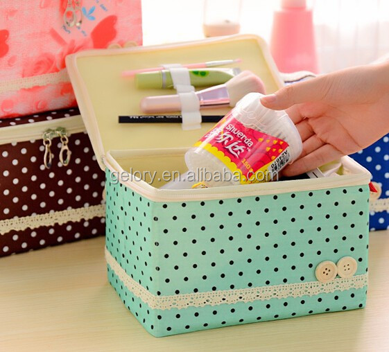 NEW ARRIVAL Fashion cute fold up Cosmetic bag,luxury ladies polka dots cosmetic case