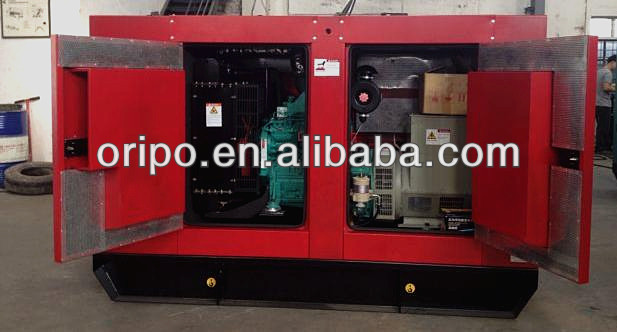 hotel used Red color genset 100kva soundproof generator
