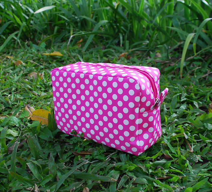 Ladies cosmetic bag, polka dot makeup bag cosmetic box bag, dom104265
