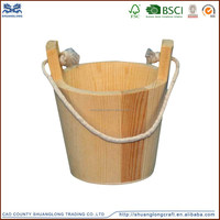 Wholesale antique wooden water bucket with rope handle