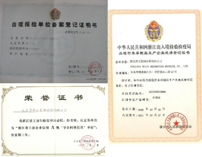authority of export & import.Certificates