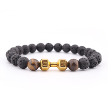 Dumbell Retail Mens Gift New Arrival Alloy Metal Barbell & Lava Rock Stone Beads Fitness Fashion Dumbbell Bracelets
