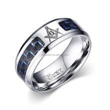 Hot Sales Fashion Mens Masonic Ring Stainless Steel Carbon Fiber Rings