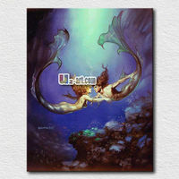 Beautiful pictures nude mermaid oil painting for kids room