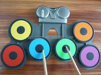 portable drum set, silicone rolling drum set, electronic drum kits