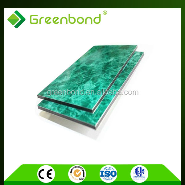 Greenbond anti-static colorful stone coated metal roofing with standard size acp sheet