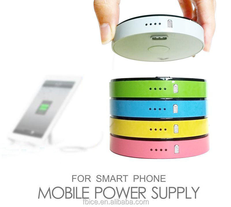 mini easy carry Custom stackable unique design round shape power bank