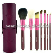Protalbe Purple Cylinder with 7pcs Cosmetic Brushes Cheap Makeup Brush Sets