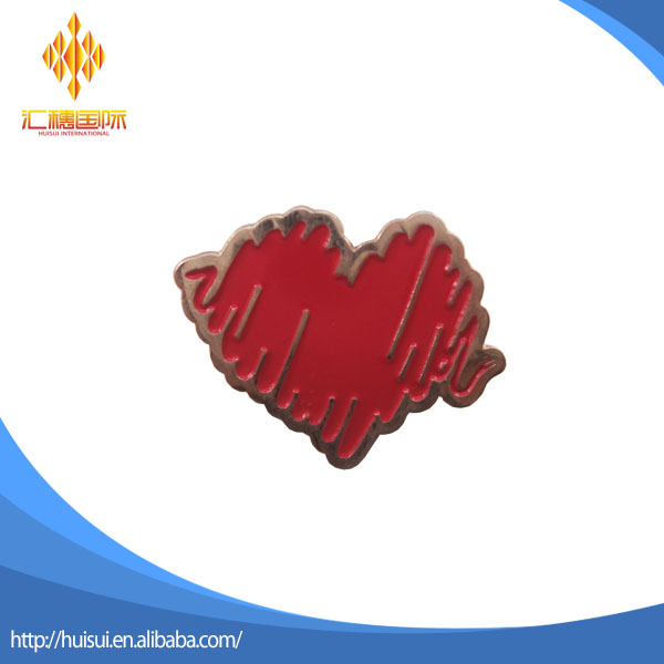 Popular sale cheapest custom golden line red heart lapel pin