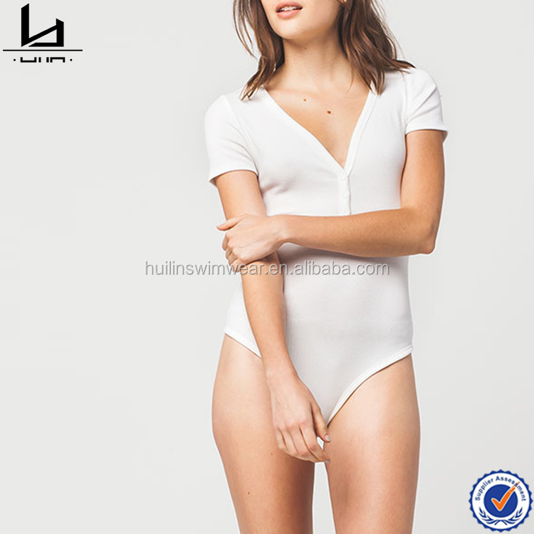 Wholesale women blank bodysuit white one piece bodysuit cheap bodysuit for woman