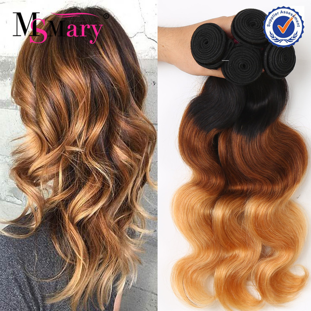 Peruvian Hair Bundles 3 Tone 1B 4 27 Color 100% Human Ombre Hair Braiding Hair