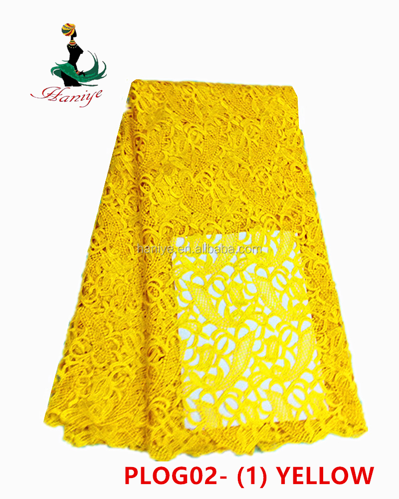 Haniye PLOG02-1 yellow 2017 embroidery guipure lace fabric soft african cord lace for wedding and party
