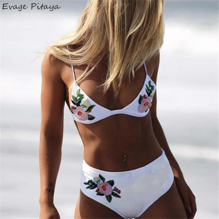 factory 2018 new hot sale dropshipping low MOQ high waisted embroidery bikini 2018 <strong>sexy</strong>