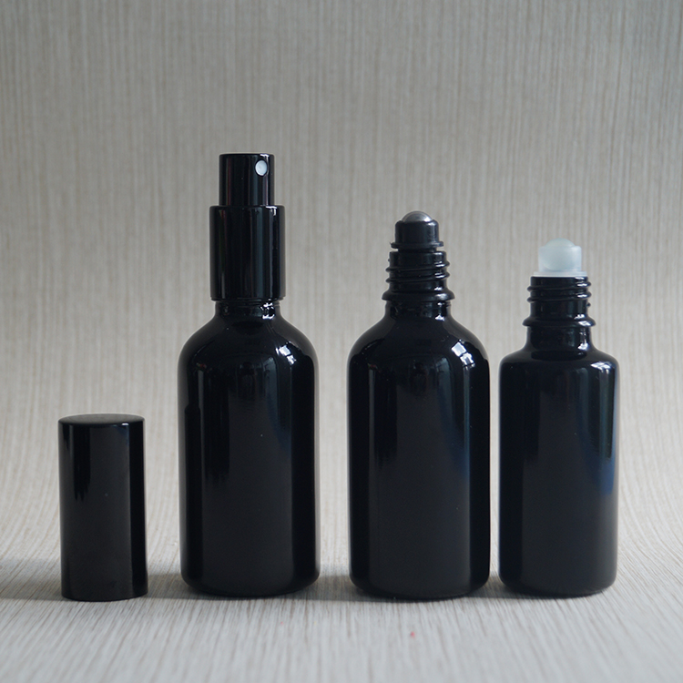 Empty cosmetic essential oil 30ml 50ml 100ml dark violet glass bottles with lids
