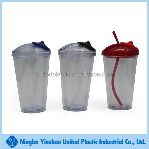 double wall insulated plastic cold drinks cup with lid and straw