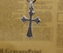 2pcs Silver and Gun Black Divided Men's Cross Necklace