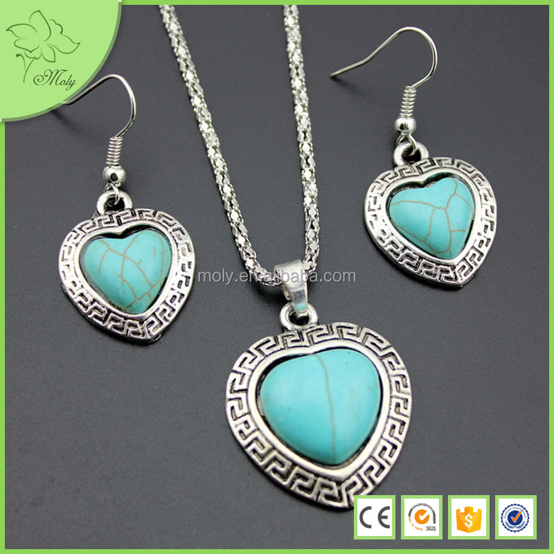 Fashion Turquoise Heart Shape Necklace And Earring Jewelry Set
