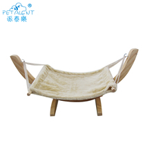 Wooden Plush Hanging Pet Hammock Beds with cat sleep hammock