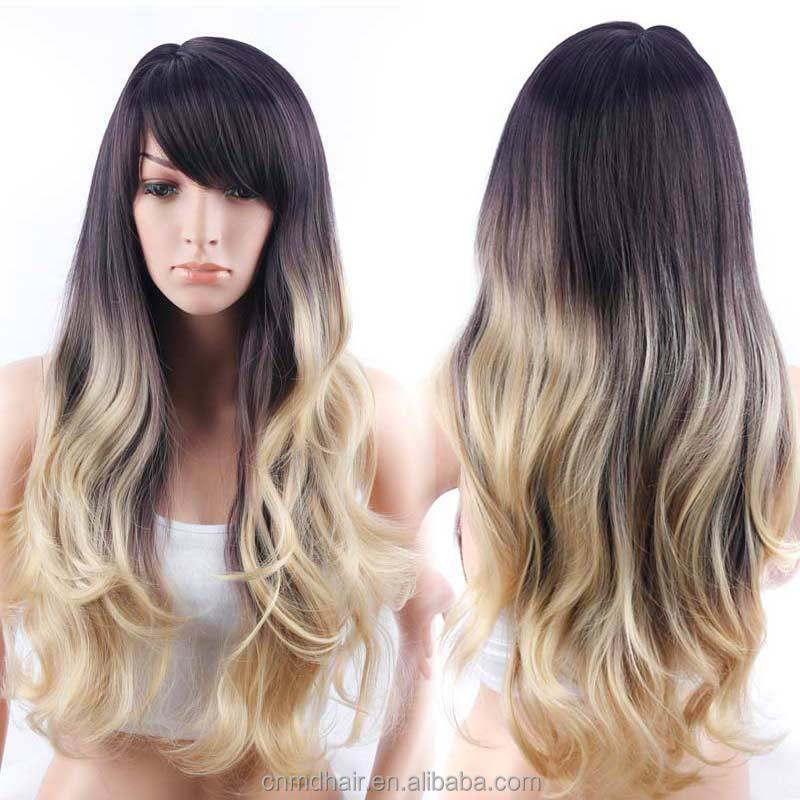 30inches Ombre blonde Synthetic Wig Natural color Hair Black Roots Party Wig For Women machine made long wavy hair