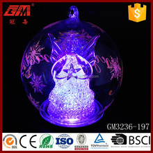 Battery operated christmas glass angel ball light