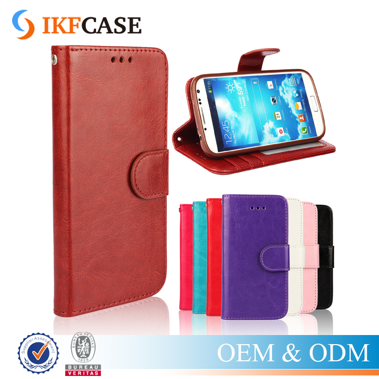 Quality Genuine PU Leather Wallet Magnet Flip Cover Phone Case for Samsung Galaxy S4 i9500