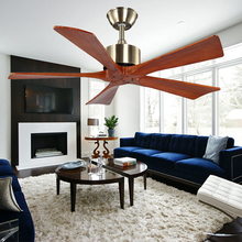 Modern European style indoor classic DC motor solid wood ceiling fan with remote control