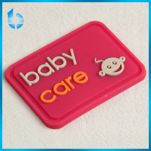 Soft washable Clothing PVC customized rubber label, silicon 3D label for baby care products