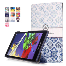 Printed crown Leather Case Smart Auto Sleep Wake Cover For Lenovo Tab 2 A8-50 A8-50F