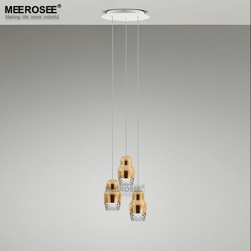 Golden Glass Pendant Lamp for Kitchen Suspension Light Fixture Decoration for Home MD83007