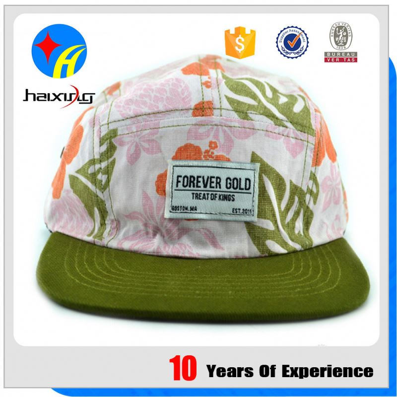 Wholesale Top Quality Printed 5 Panel Hats