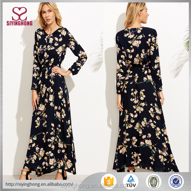 Summer newest long sleeve black flower print maxi women wholesale abaya dress