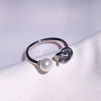 2018 hot sales 925 Sterling Silver Simple design Style infinity pearl ring for Women