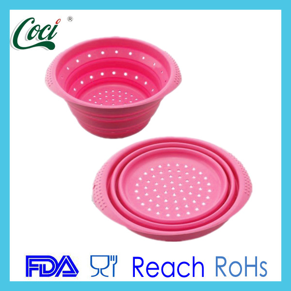 FDA&LFGB silicone folding bowl vegetables fruit drain bowl silicone strainer bowl