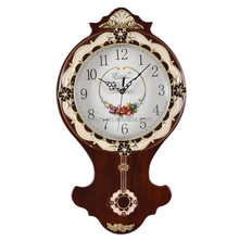 Home Decor Quartz Wooden Country Wall Clock With Pendulum