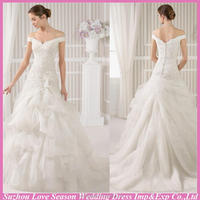 WD5213 Hot selling with low price off shoulder lace appliqued top ruched organza low waist train modern wedding dresses 2015
