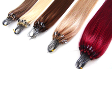 Straight beautiful colored brazilian 100% human hair two color ombre micro ring loop hair extension
