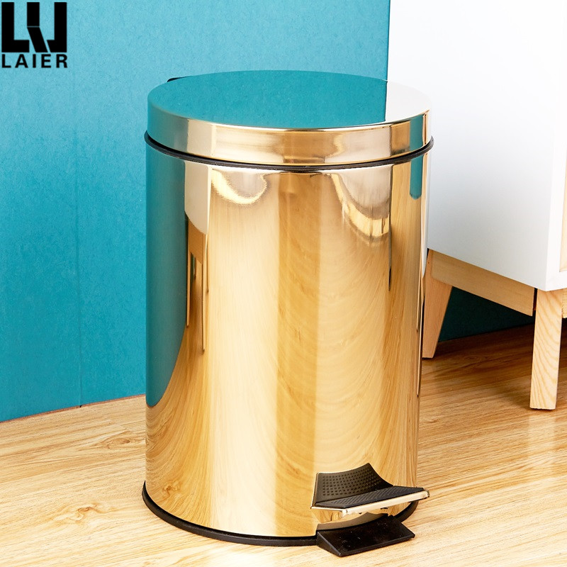 3L 5L 8L 12L Foot Pedal Round Step Trash Can Polished 201 Stainless Steel Waste Bin