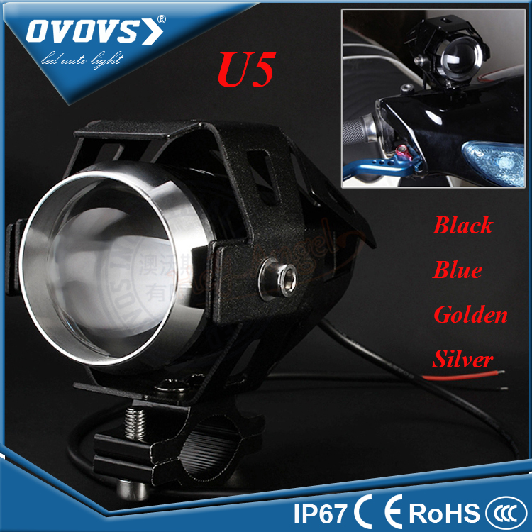 OVOVS Motorcycle Motorbike Headlight Upper Low Beam & Flash U5 LED Motorcycle <strong>Light</strong> 12V