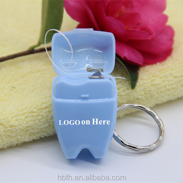 Custom dental floss/ KeyChain tooth shaped dental floss ,silk dental floss 15m-25m printing logo