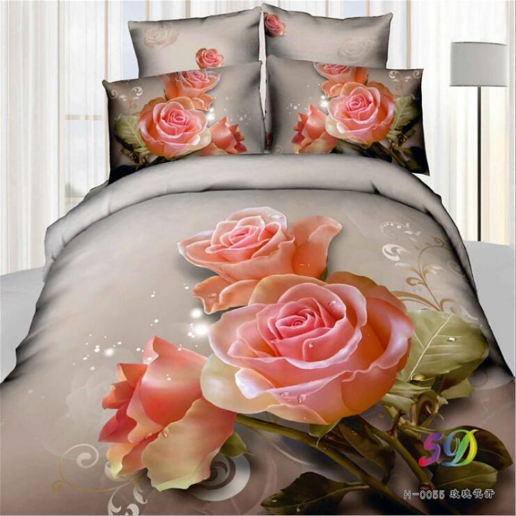 Romantic 3D roses bedding set 3D cotton bed sheets set