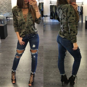 Women Camouflage Print Long Sleeve T-Shirt Slim Sexy up Tops