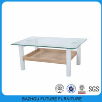 Simple design top glass wood square coffee table for home decor