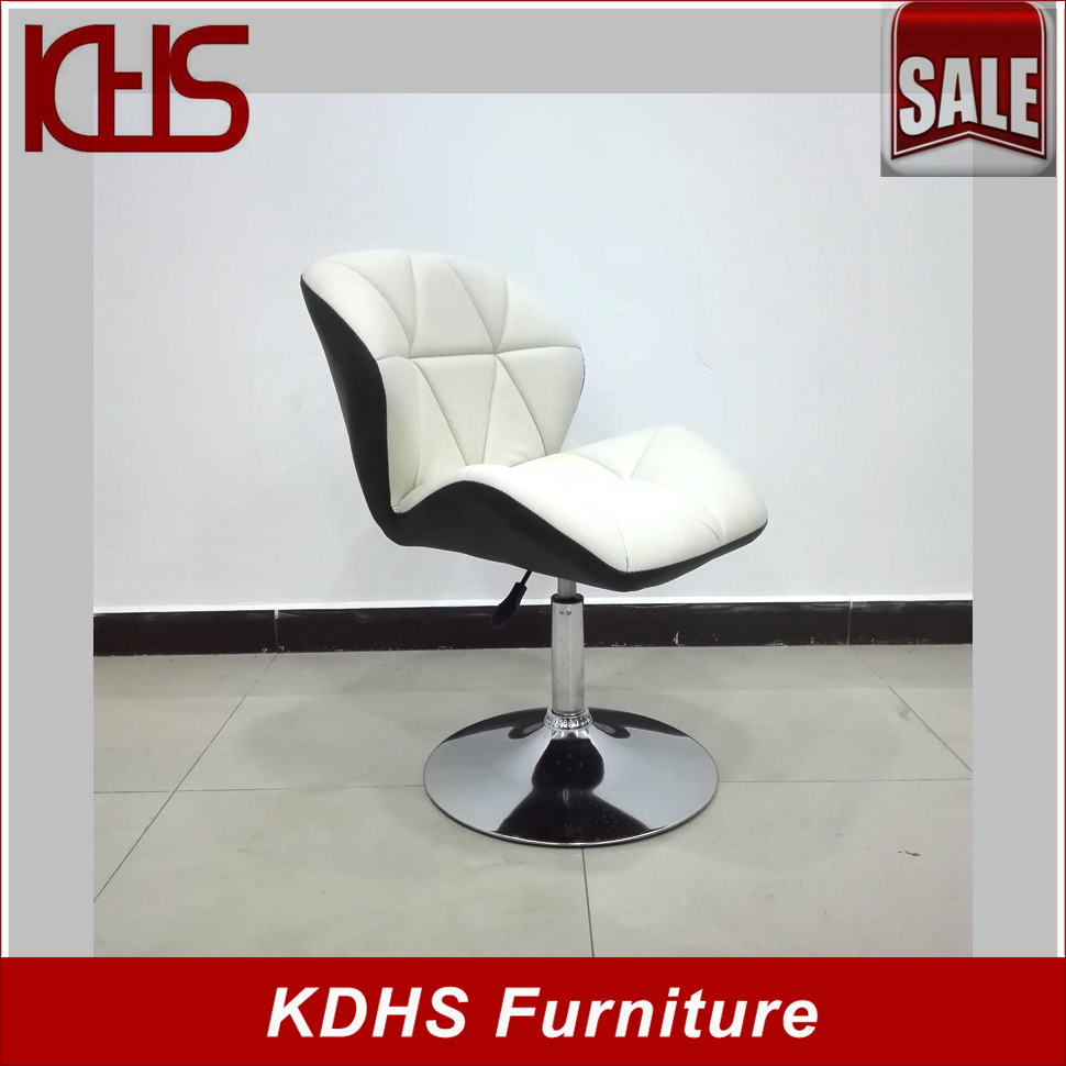 Small comfortable round base fabric office chair without wheel