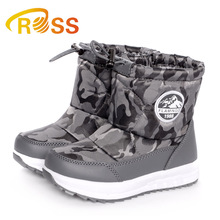 Army pattern design red grey unisex warm snow winter boots